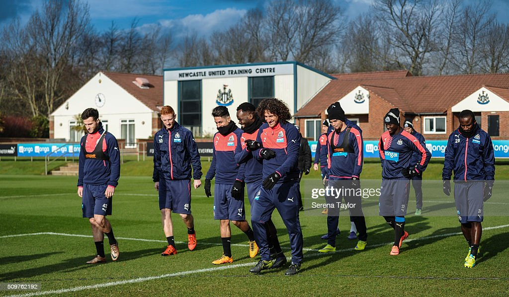 Newcastle players seen L-R Jamie Sterry, Liam Gibson, Ayoze Perez, <a gi-track='captionPersonalityLinkClicked' href=/galleries/search?phrase=Cheick+Tiote&family=editorial&specificpeople=5490367 ng-click='$event.stopPropagation()'>Cheick Tiote</a>, <a gi-track='captionPersonalityLinkClicked' href=/galleries/search?phrase=Fabricio+Coloccini&family=editorial&specificpeople=469707 ng-click='$event.stopPropagation()'>Fabricio Coloccini</a>, <a gi-track='captionPersonalityLinkClicked' href=/galleries/search?phrase=Daryl+Janmaat&family=editorial&specificpeople=6134960 ng-click='$event.stopPropagation()'>Daryl Janmaat</a>, <a gi-track='captionPersonalityLinkClicked' href=/galleries/search?phrase=Emmanuel+Riviere&family=editorial&specificpeople=5652272 ng-click='$event.stopPropagation()'>Emmanuel Riviere</a>, <a gi-track='captionPersonalityLinkClicked' href=/galleries/search?phrase=Henri+Saivet&family=editorial&specificpeople=5969966 ng-click='$event.stopPropagation()'>Henri Saivet</a>, Siem de Jong and <a gi-track='captionPersonalityLinkClicked' href=/galleries/search?phrase=Seydou+Doumbia&family=editorial&specificpeople=5546505 ng-click='$event.stopPropagation()'>Seydou Doumbia</a> walk outside for the Newcastle United Training session at The Newcastle United Training Centre on February 12, 2016, in Newcastle upon Tyne, England.