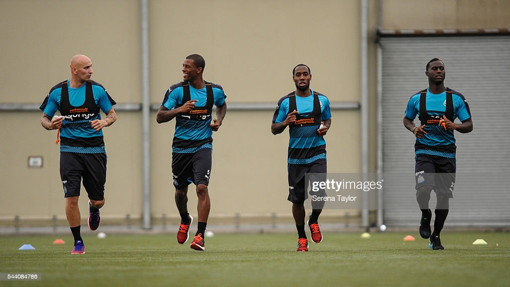 Newcastle players seen L-R Jonjo Shelvey, Georginio Wijnaldum, Vurnon Anita and Henri Saivet warm up during fitness testing on the first day back at The Newcastle United training Centre on July 1, 2016 in Newcastle upon Tyne, England.