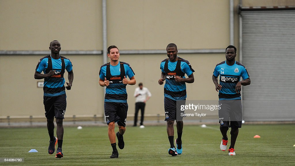 Newcastle players seen L-R Papiss Cisse, Florian Thauvin, Chancel Mbemba and Cheick Tiote warm up during fitness testing on the first day back at The Newcastle United training Centre on July 1, 2016 in Newcastle upon Tyne, England.