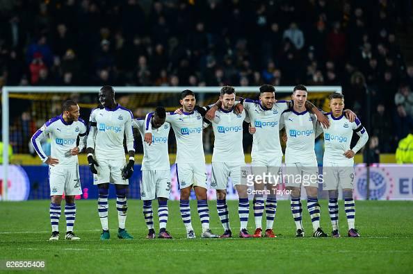 Newcastle players seen LR Yoan GouffranMohamed DiameChristian Atsu Achraf Lazaar Daryl Murphy Jamaal Lascelles Ciaran Clark and Dwight Gayle line up...