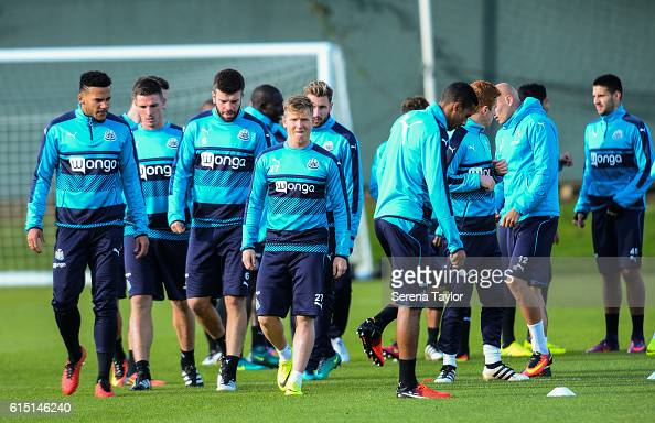 Newcastle players warm up during the Newcastle United Training Session at The Newcastle United Training Centre on October 17 2016 in Newcastle upon...