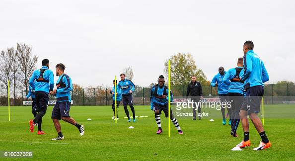 Newcastle players warm up during the Newcastle United Training Session at The Newcastle United Training Centre on October 21 2016 in Newcastle upon...