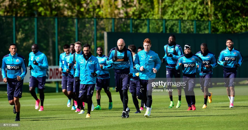Newcastle players warm up during the Newcastle United Training Session at the Newcastle United Training Ground on April 21, 2017 in Newcastle upon Tyne, England.
