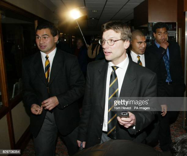 Newcastle rugby club's Pat Lam Rob Andrew Va'aiga Tiugamala and Epi Taione leave the Renaissance Hotel Heathrow West London after an Football Union...