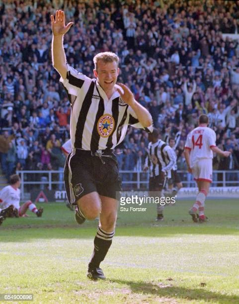 Newcastle striker Alan Shearer celebrates after scoring in the 77th minute during the FA Premier League match at St James' Park on April 5 1997 in...