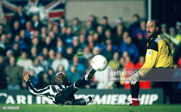 Newcastle striker Andy Cole scores past Liverpool goalkeeper Bruce Grobbelaar during a 30 win to Newcastle during the FA Premier league match between...