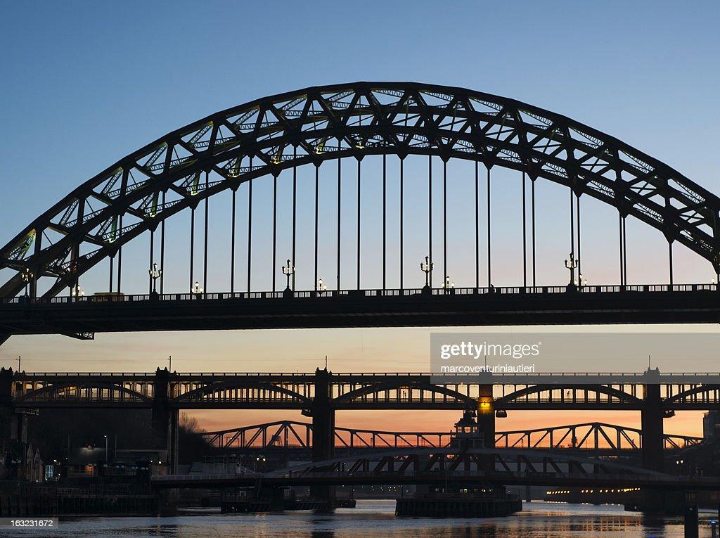 Newcastle Tyne bridge at sunset - iconic landmark of Northeast
