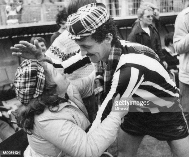Newcastle United 40 Derby Division Two league match at St James Park Saturday 5th May 1984 A hug for Terry McDermott from Olwyn Addison of South...