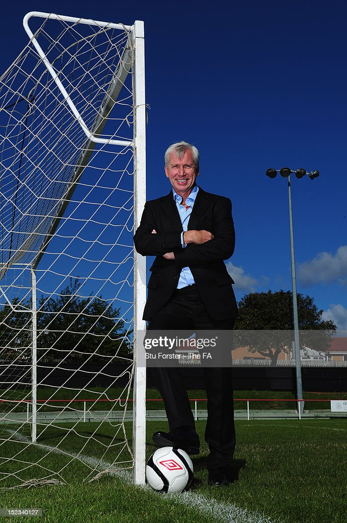 Newcastle United boss <a gi-track='captionPersonalityLinkClicked' href=/galleries/search?phrase=Alan+Pardew&family=editorial&specificpeople=171147 ng-click='$event.stopPropagation()'>Alan Pardew</a> is announced to back Budweiser Club Futures, a programme that will see £1 Million invested into grassroots football over the next two seasons at North Shields FC on September 18, 2012 in North Shields, England. Photo by Stu Forster - The FA via Getty Images)