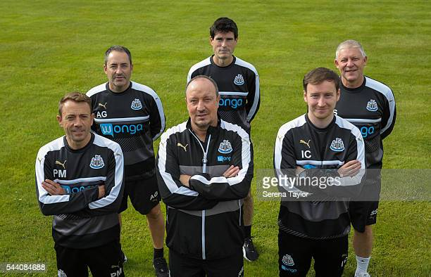 Newcastle United Coaching Staff Seen LR Assistant manager Francisco De Miguel Moreno Head of analysis and first team coach Antonio Gomez Perez...