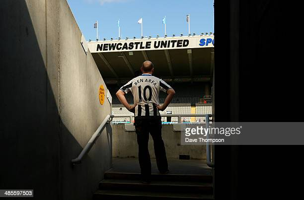 Newcastle United fan arrives at the ground before the Barclays Premier League fixture between Newcastle United and Swansea City at St James Park on...