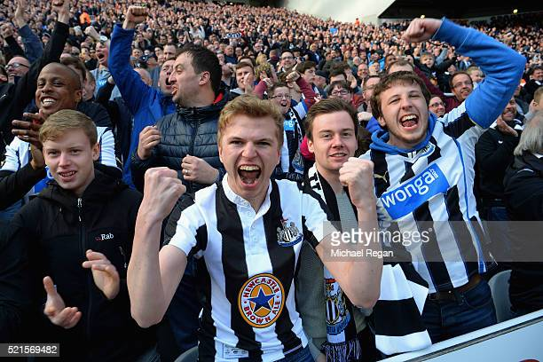 Newcastle United fans celebrate follwoing their side making it 20 during the Barclays Premier League match between Newcastle United and Swansea City...