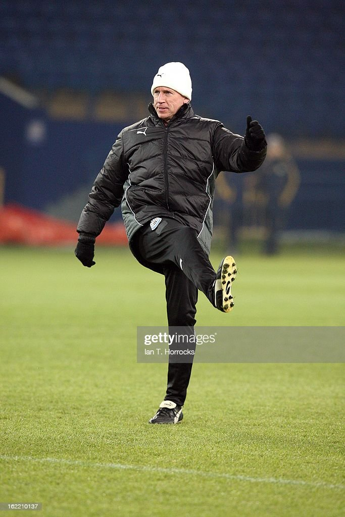Newcastle United FC manager Alan Pardew during a training session ahead of their UEFA Europa League round of 32 second leg match against FC Metalist Kharkiv, at Metalist Stadium, on February 20, 2013 in Kharkov, Ukraine.