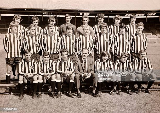 Newcastle United football team at St James' Park in Newcastle circa July 1971 Back row left to right Dave Craig Ian Mitchell Stewart Barrowclough...