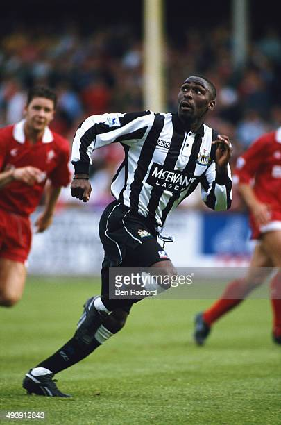 Newcastle United forward Andy Cole in action during the FA Premier League match between Swindon Town and Newcastle United at County Ground on...
