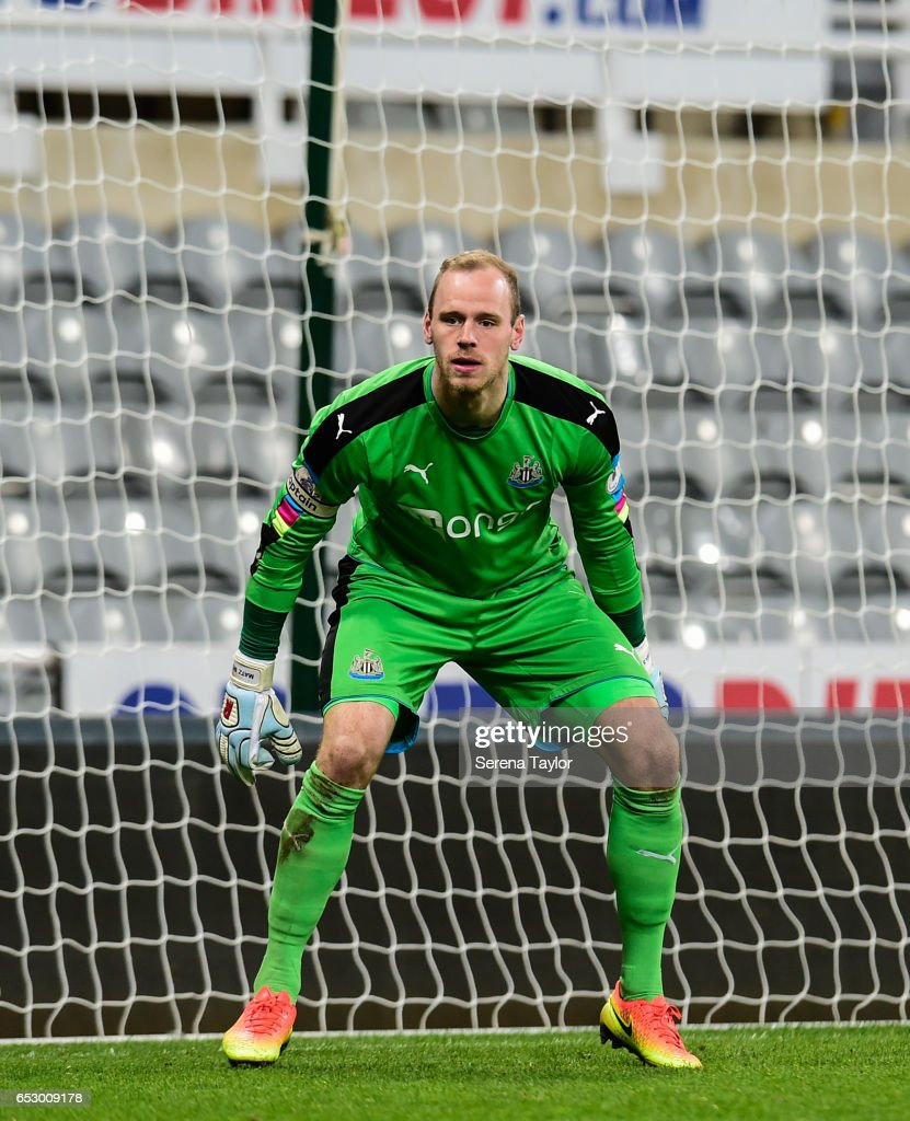 Newcastle United Goal Keeper Matz Sels (1) crouches in goal during the Premier League 2 Match between Newcastle United and West Ham United at St.James' Park on March 13, 2017 in Newcastle upon Tyne, England.