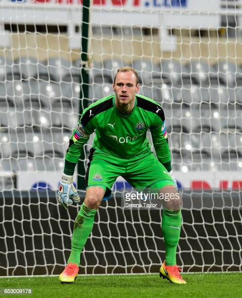 Newcastle United Goal Keeper Matz Sels crouches in goal during the Premier League 2 Match between Newcastle United and West Ham United at StJames'...