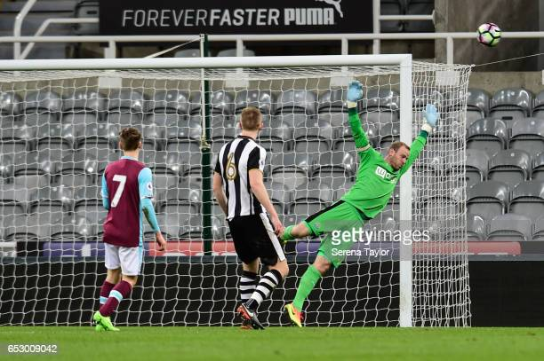 Newcastle United Goal Keeper Matz Sels jumps in the air during the Premier League 2 Match between Newcastle United and West Ham United at StJames'...