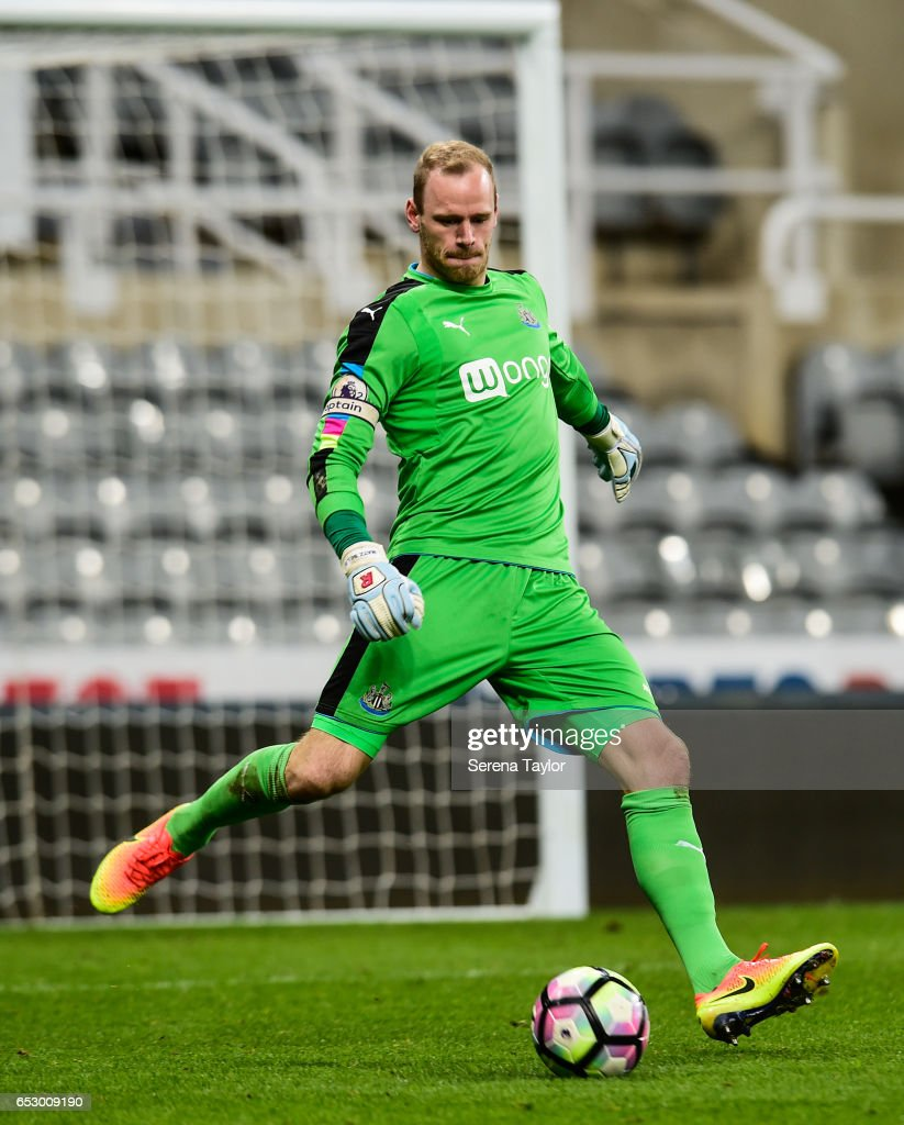 Newcastle United Goal Keeper Matz Sels (1) kicks the ball into play during the Premier League 2 Match between Newcastle United and West Ham United at St.James' Park on March 13, 2017 in Newcastle upon Tyne, England.