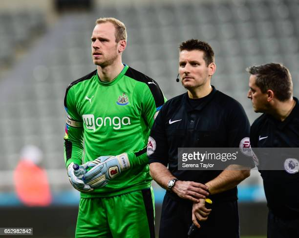 Newcastle United Goal Keeper Matz Sels lines up during the Premier League 2 Match between Newcastle United and West Ham United at StJames' Park on...