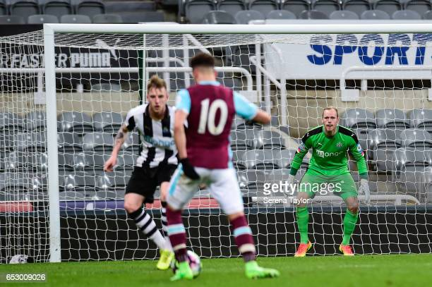 Newcastle United Goal Keeper Matz Sels watches the play during the Premier League 2 Match between Newcastle United and West Ham United at StJames'...