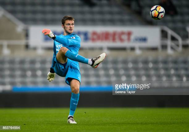 Newcastle United Goalkeeper Freddie Woodman kicks the ball during the Premier League 2 match between Newcastle United and Wolverhampton Wanderers at...