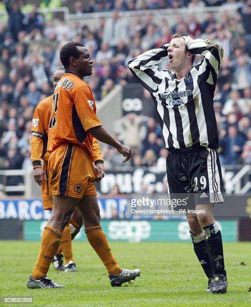 Newcastle United goalscorer Lee Bowyer can't believe his luck after a near miss against Wolverhampton Wanderers during their Barclaycard Premiership...
