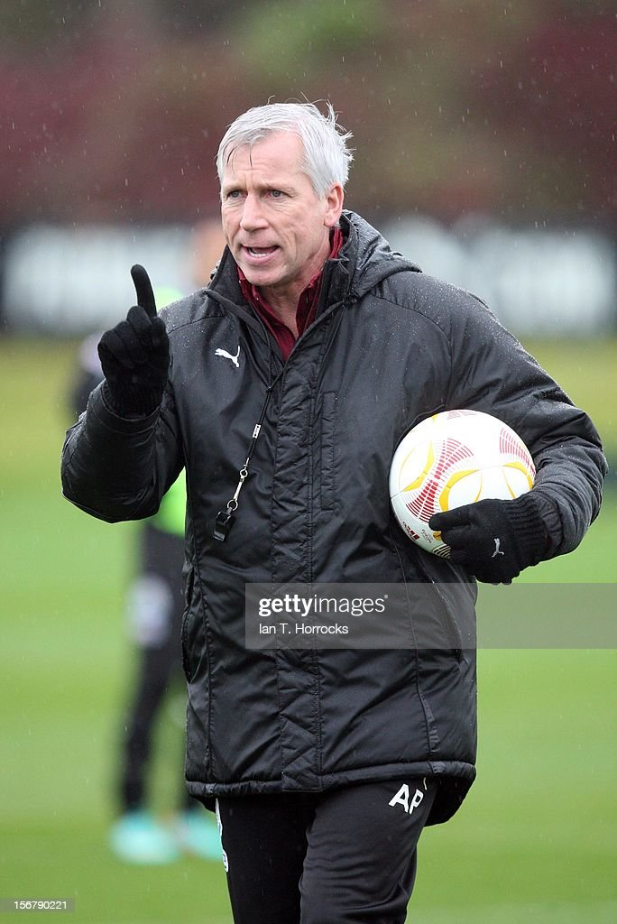 Newcastle United manager Alan Pardew during a Newcastle United training session at the Little Benton training ground on November 21, 2012, in Newcastle upon Tyne