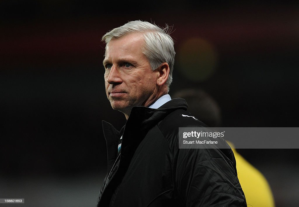Newcastle United manager Alan Pardew during the Barclays Premier League match between Arsenal and Newcastle United at Emirates Stadium on December 29, 2012 in London, England.