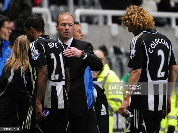 Newcastle United Manager Alan Shearer consoles his players at the end of the game during the Barclays Premier League match at St James' Park Newcastle