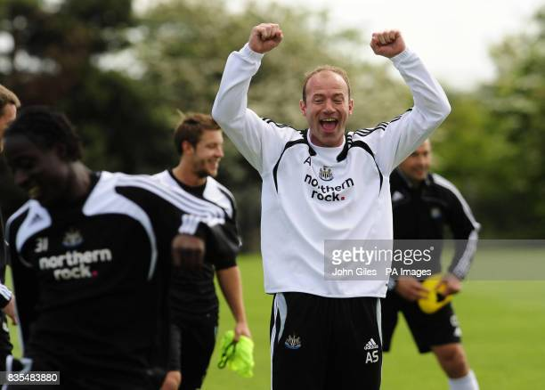 Newcastle United manager Alan Shearer enjoys a lighter moment with his players during the training session at Longbenton Newcastle