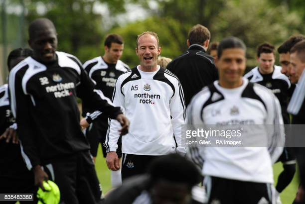 Newcastle United manager Alan Shearer is all smiles during the training session at Longbenton Newcastle