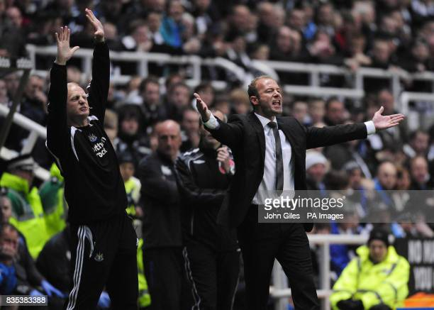 Newcastle United Manager Alan Shearer reacts during the Barclays Premier League match at St James' Park Newcastle