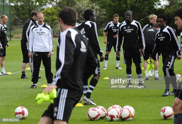 Newcastle United Manager Alan Shearer shouts instructions during the training session at Longbenton Newcastle
