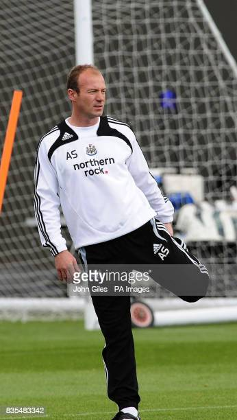 Newcastle United Manager Alan Shearer stretches during the training session at Longbenton Newcastle