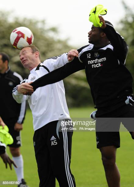 Newcastle United manager Alan Shearer with Sebastien Bassong during the training session at Longbenton Newcastle