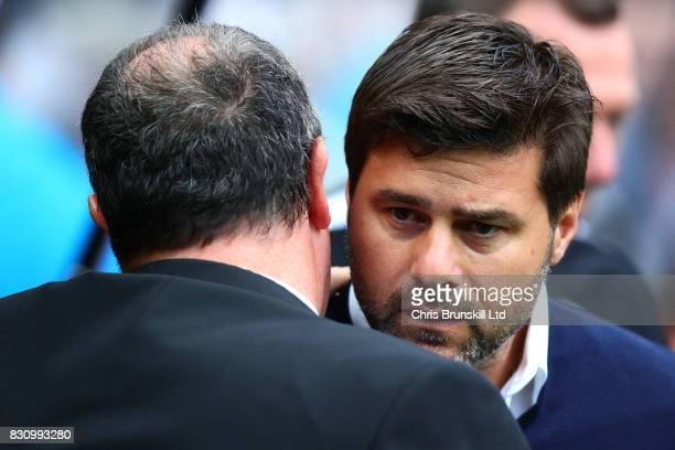 Newcastle United Manager / Head Coach Rafael Benitez greets Tottenham Hotspur Manager / Head Coach Mauricio Pochettino prior to the Premier League...