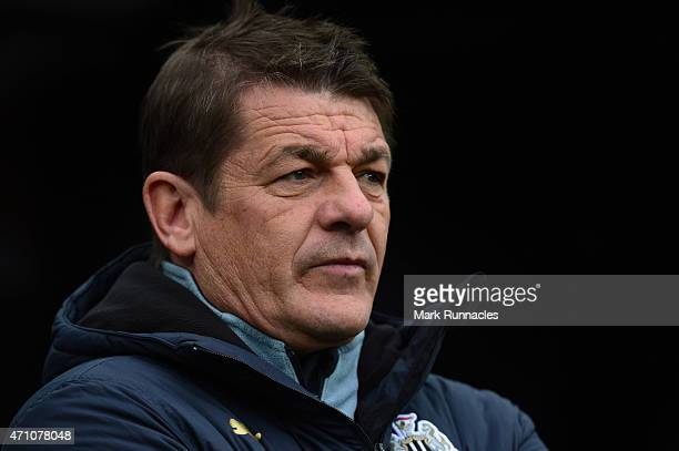 Newcastle United manager John Carver looks on during the Barclays Premier League match between Newcastle United and Swansea City at St James' Park on...