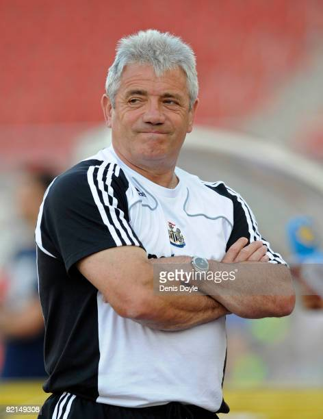 Newcastle United manager Kevin Keegan watches his side warmup before the preseason friendly match between Hertha Berlin and Newcastle United at the...