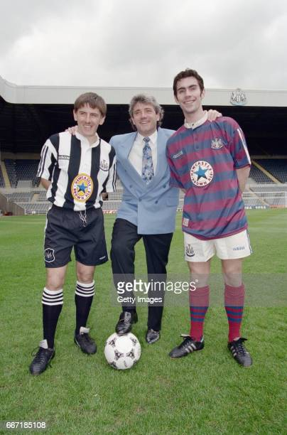 Newcastle United manager Kevin Keegan with players Peter Beardsley and Keith Gillespie at the launch at St James' Park on May 10 1995 of the new...