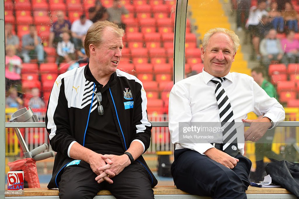 Newcastle United manager Steve McClaren with Gateshead manager Malcolm Crosby before the pre season friendly between Gateshead and Newcastle United...