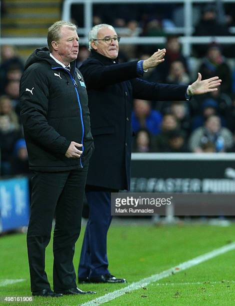 Newcastle United manager Steve McLaren gestures from the sideline with Leicester City manager Claudio Ranieri during the Barclays Premier League...