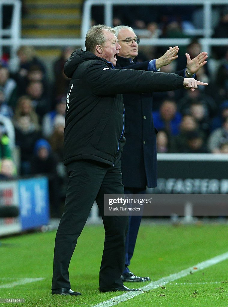 Newcastle United manager Steve McLaren gestures from the sideline with Leicester City manager Claudio Ranieri during the Barclays Premier League match between Newcastle United FC and Leicester City FC at St James' Park on November 21, 2015 in Newcastle Upon Tyne, England.