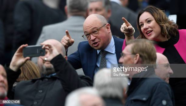 Newcastle United managing director Lee Charnley makes a point during the Sky Bet Championship title after the match between Newcastle United and...