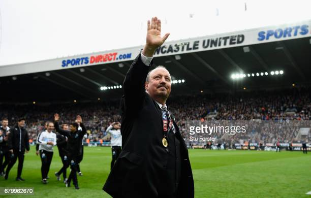 Newcastle United manmager Rafa Benitez celebrates after winning the Sky Bet Championship match between Newcastle United and Barnsley at St James'...