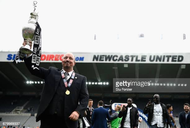 Newcastle United manmager Rafa Benitez celebrates after winning the Sky Bet Championship Title after the match between Newcastle United and Barnsley...