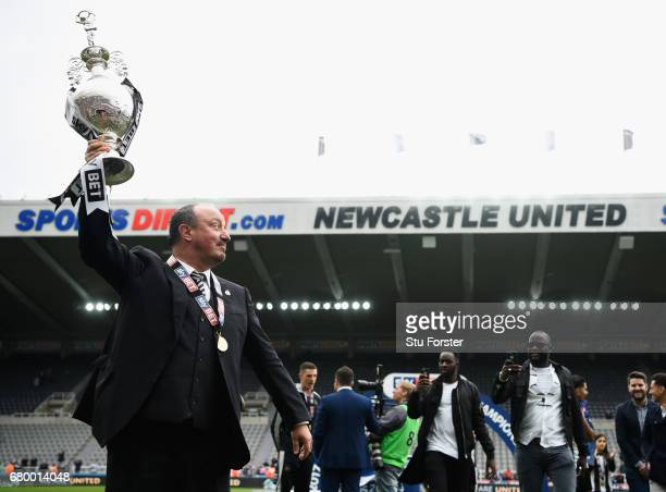 Newcastle United manmager Rafa Benitez celebrates after winning the Sky Bet Championship Title after the match between Newcastle United and Barnsley...