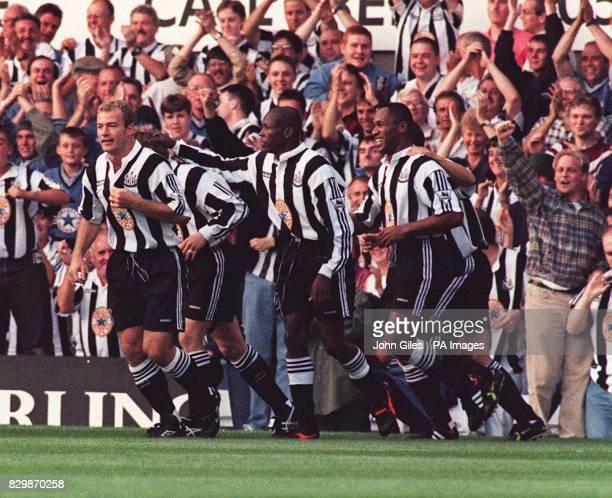 Newcastle United multi million strike force of ShearerAsprilla and Ferdinand lead the celebration of David Battys goal against Wimbledon in the...