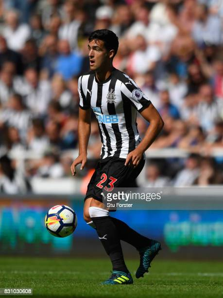 Newcastle United player Mikel Merino in action during the Premier League match between Newcastle United and Tottenham Hotspur at St James Park on...