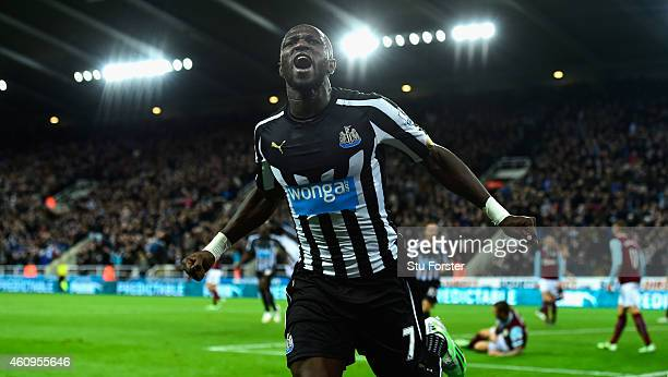 Newcastle United player Moussa Sissoko celebrates after scoring their third goal during the Barclays Premier League match between Newcastle United...